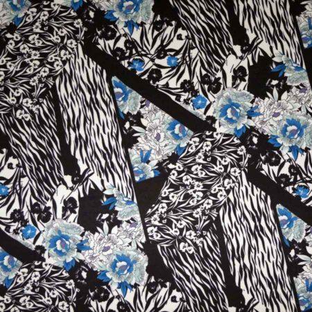 seta viscosa fiori toni blu