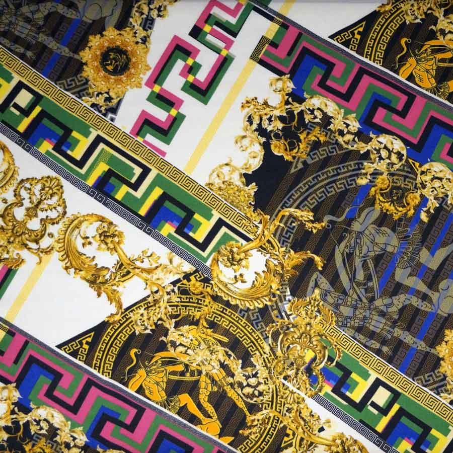 Raso seta viscosa greca barocco multicolor