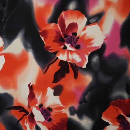 cotone fiori grandi rosso
