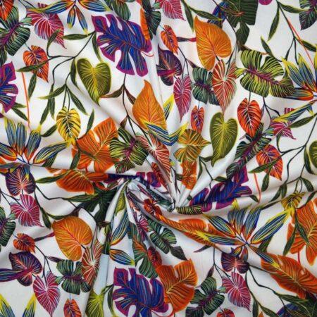 cotone foglie multicolor