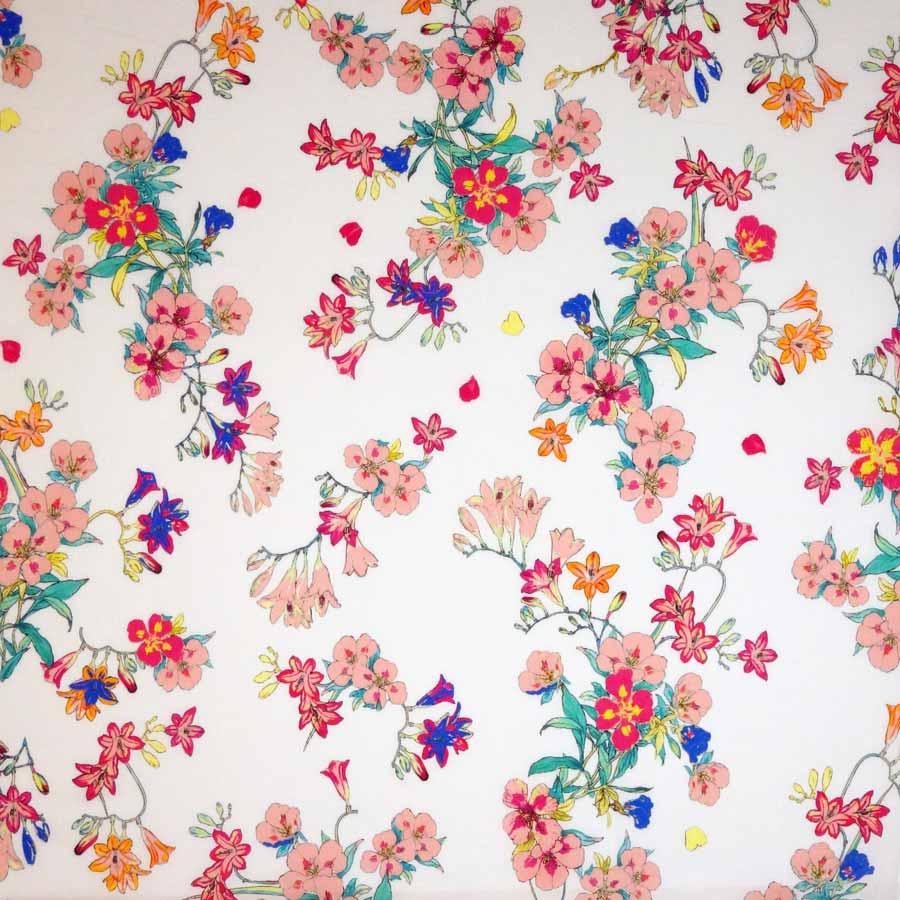 cotone leggero fiori rosa