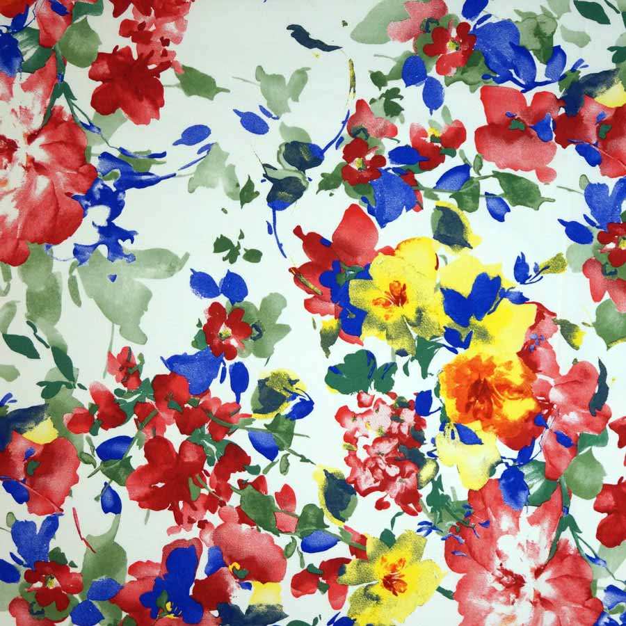 Cotone imprimè stretch – floreale pennellate fondo bianco