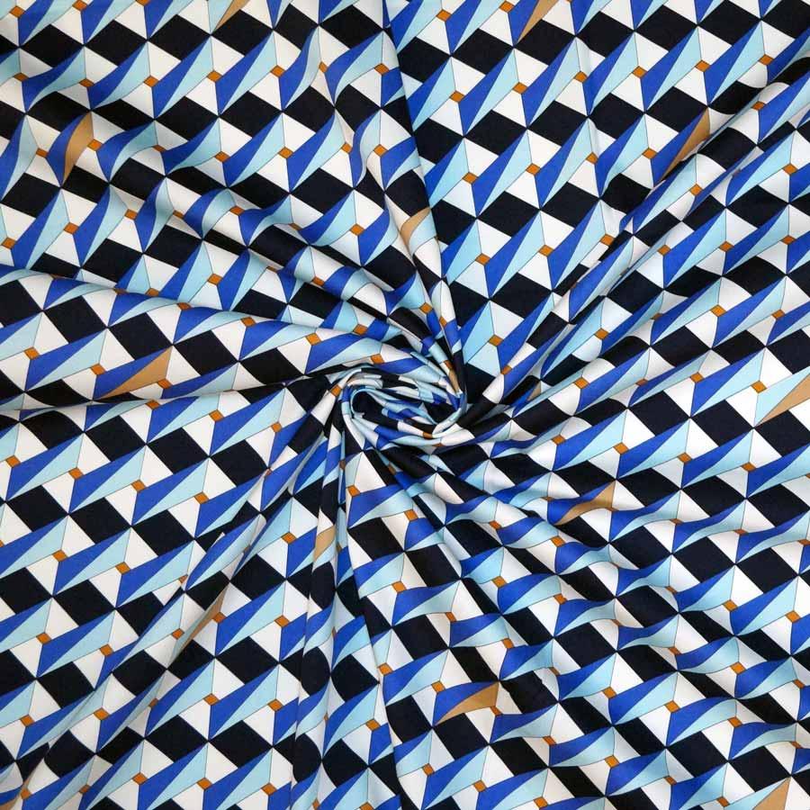 Cotone imprimè stretch – geometrico toni blu