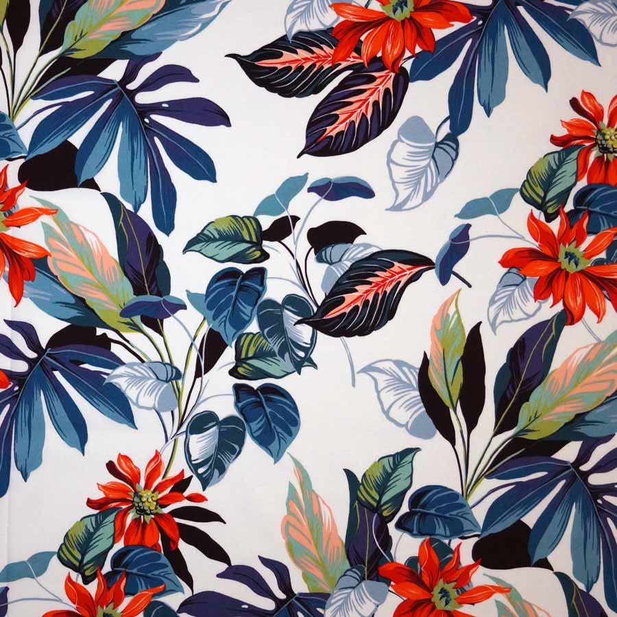Cotone imprimè stretch – floreale rosso fondo bianco TAGLIO 1,45 MT