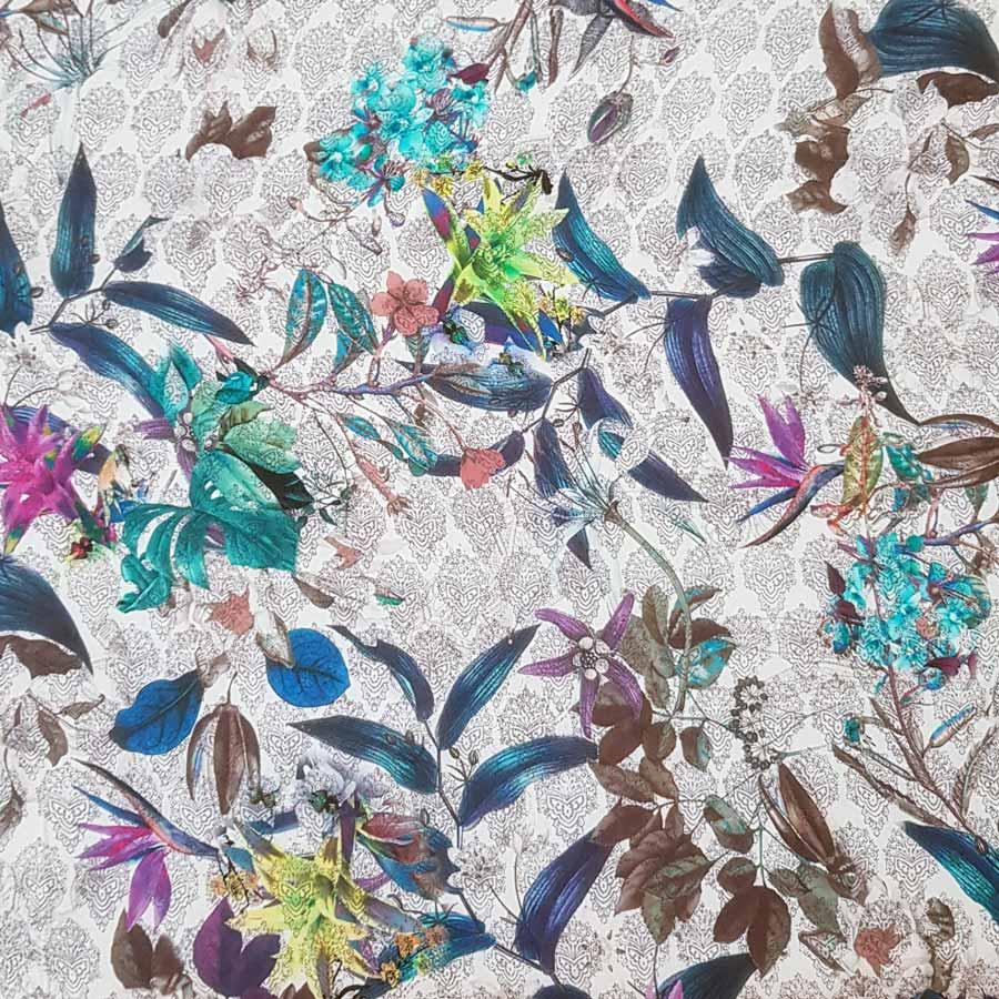 Chiffon crepe viscosa – floreale fondo arabesco