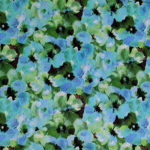 Rasatello cotone stampato – floreale toni azzurro verde