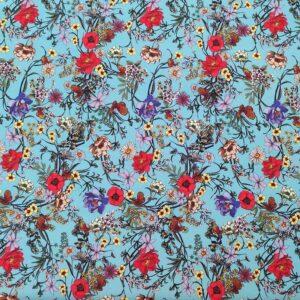 Rasatello cotone stampato – floreale fondo azzurro