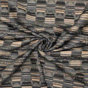 Tessuto jacquard geometrico lamè scuro