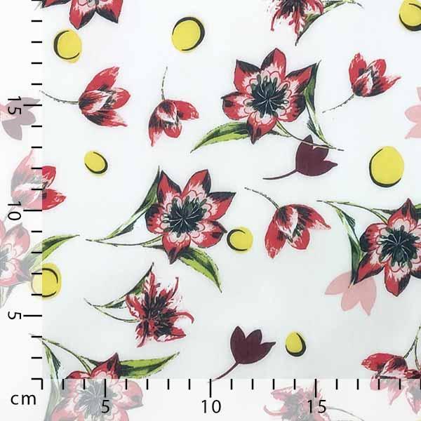 Chiffon fiore rosso pois giallo