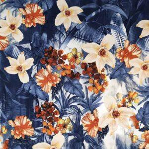 Cotone stretch stampato fiore arancione fondo blu