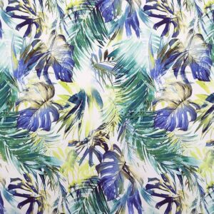 Cotone stretch stampato foglie verde blu