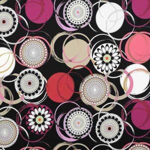 Cotone stretch stampato geometrico floreale