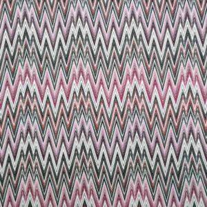 Cotone stretch stampato geometrico zig zag rosa fucsia