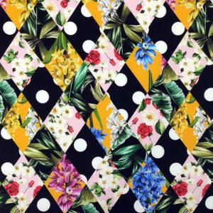 Envers satin di seta stretch rombi pois fiori