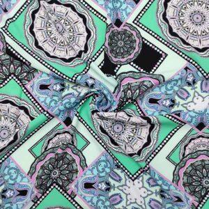 Viscosa stampata geometrico toni verde