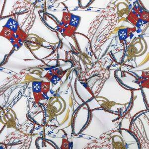 Envers satin di seta stretch bandiere e corde nautica