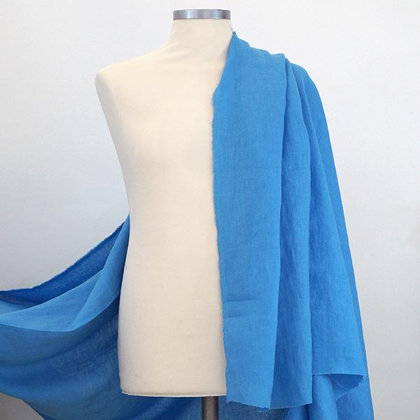 Tela puro lino azzurro