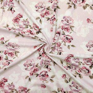 Tessuto lino viscosa floreale rosa