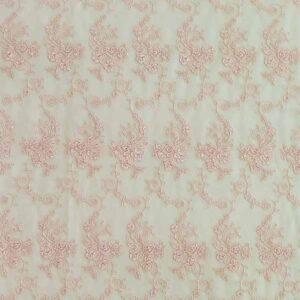 Pizzo cordoncino ricamo floreale rosa albicocca