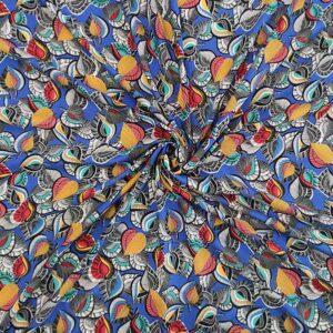 Voile viscosa stampa foglie fondo blu