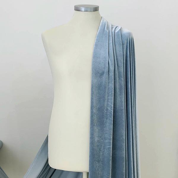 Velluto liscio stretch azzurro polvere