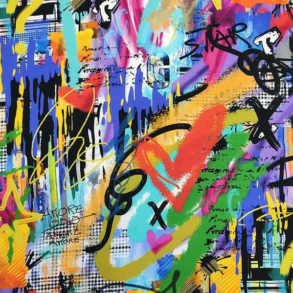 Envers satin di seta stretch graffiti multicolor