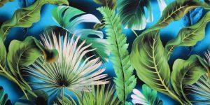Raso PURA SETA foglie su fondo azzurro petrolio