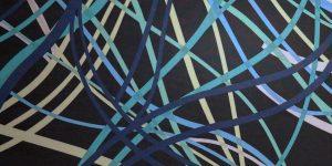 Tessuto chiffon soft astratto toni blu